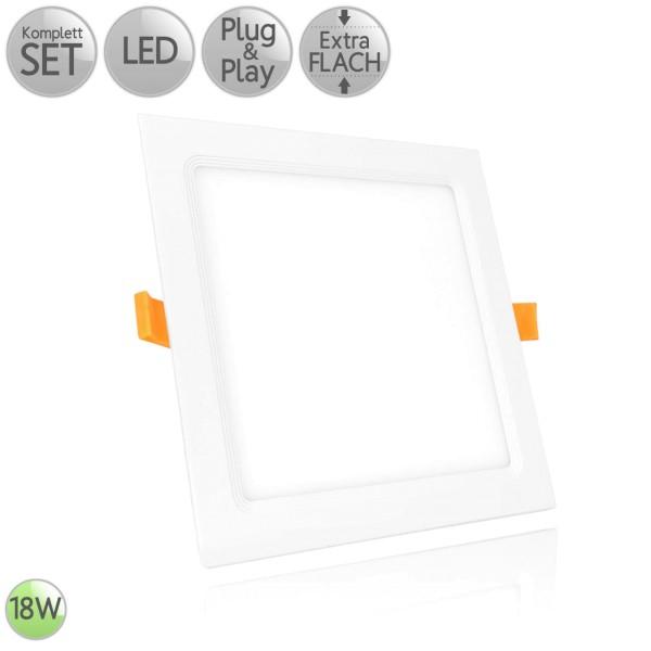 LED Einbau Panel Extra-flach Eckig in Weiß 18W 230V Neutralweiß 4000K HO