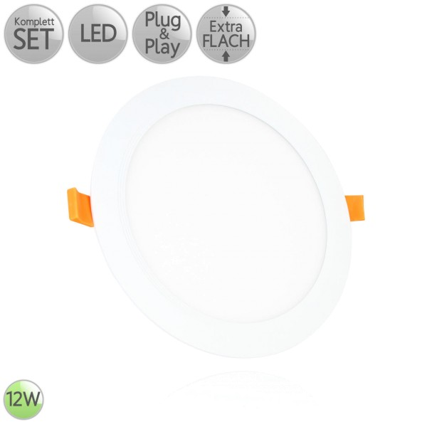 LED Einbau Panel Extra-flach Rund in Weiß 12W 230V Warmweiß | Neutralweiß | Kaltweiß HO