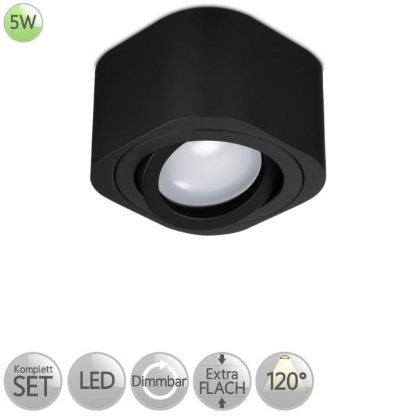 Aufbaustrahler Eckig abgerundet in Schwarz inkl. 5W LED flach Modul dimmbar diffuses Licht 120° HO