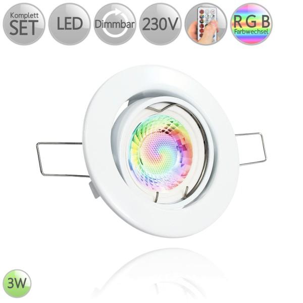 Metall Einbaustrahler Rund in Weiß inkl. 3W LED GU10 RGB Farbwechsel dimmbar HO