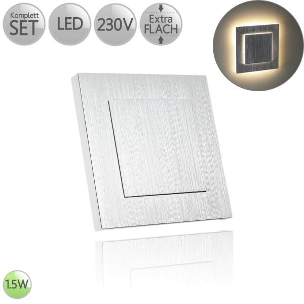 Treppenbeleuchtung Eckig in Alu-gebürstet Doppellagig inkl. 1.5W LED flach HO