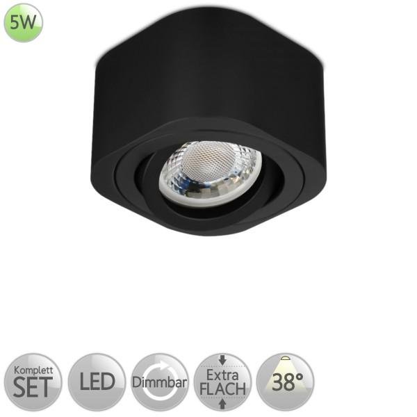 Aufbaustrahler Eckig abgerundet in Schwarz inkl. 5W LED flach Modul dimmbar Linse 38° HO