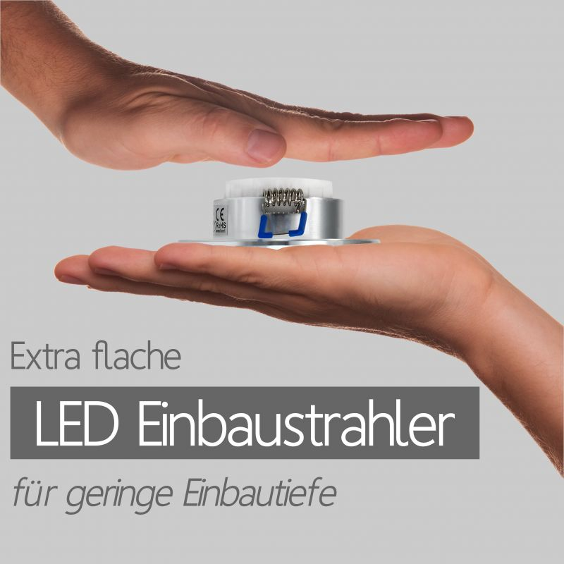 Extra flache LED Einbaustrahler Einbauspots Einbauleuchten für Wohnzimmer, Büro und Gewerbe