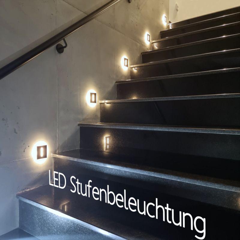 Extra flache LED Stufenbeleuchtung, Treppenleuchten. Wandeinbauleuchte ideal auch als Orientierungslicht im Flur, Schlafzimmer & Kinderzimmer