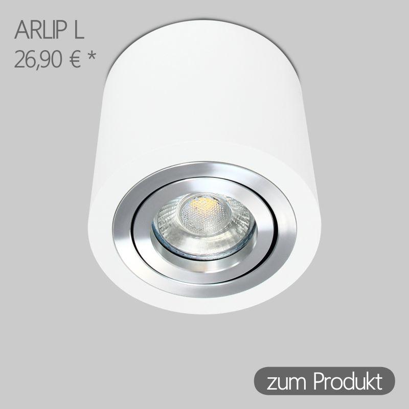 IP44 Aufbaustrahler Rund in Weiß inkl. 5W LED GU10 dimmbar Linse
