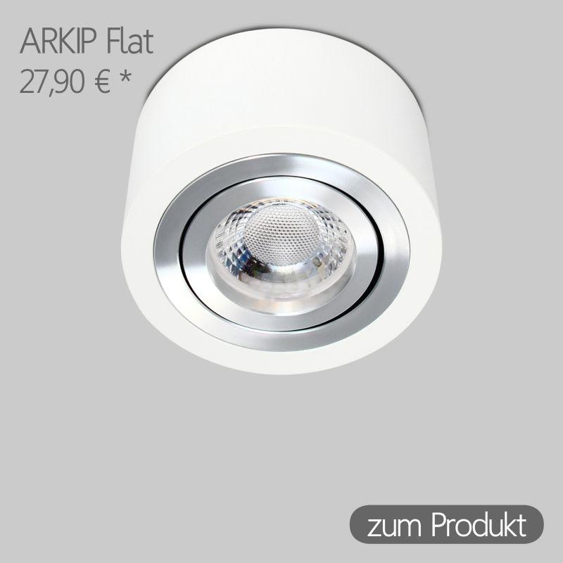 IP44 Aufbaustrahler Rund in Weiß inkl. 5W LED flach Modul dimmbar Linse