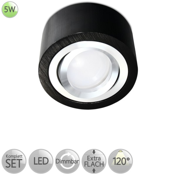 Aufbaustrahler Rund in Schwarz-gebürstet inkl. 5W LED flach Modul dimmbar diffuses Licht 120° HO