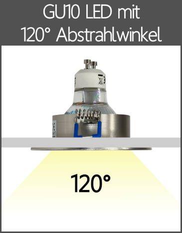 LED BAD Einbaustrahler IP44 GU10 mit Kappe 120° Abstrahlwinkel