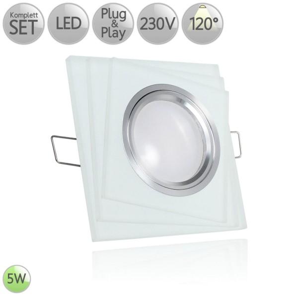 Kristall Einbaustrahler Eckig dreilagig Milchglas leuchtet in warmweiß inkl. 5W LED GU10 120° HO