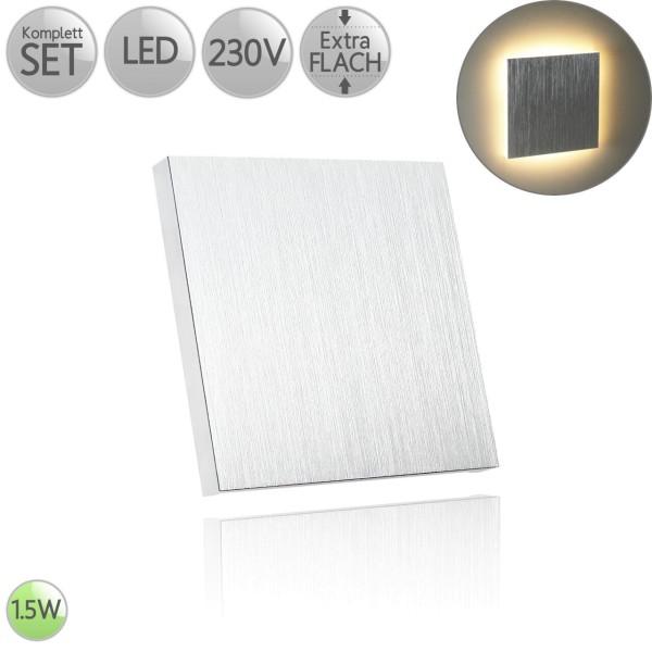 Treppenbeleuchtung Eckig in Alu-gebürstet inkl. 1.5W LED flach HO