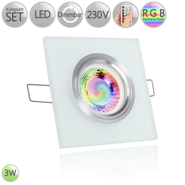 Kristall Einbaustrahler Eckig Milchglas warmweiß beleuchtet 3W LED GU10 RGB Farbwechsel dimmbar HO