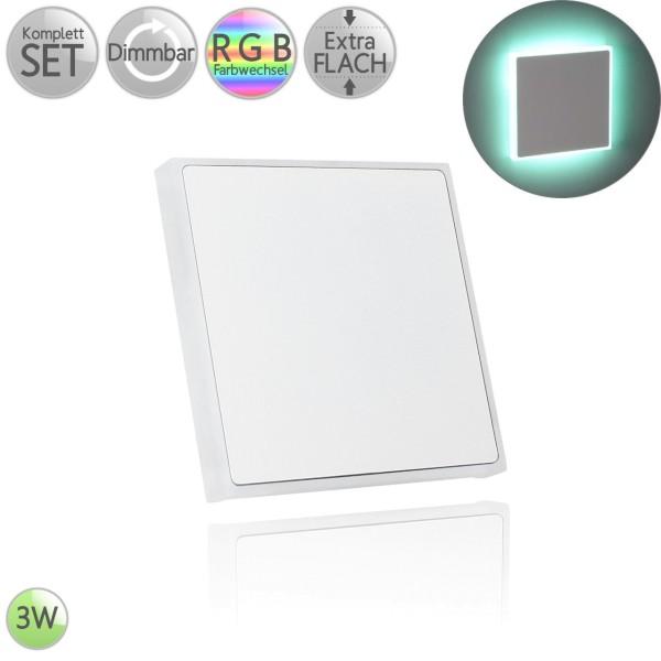 Treppenbeleuchtung Eckig in Weiß Randbeleuchtung inkl. 3W LED RGB Farbwechsel flach HO