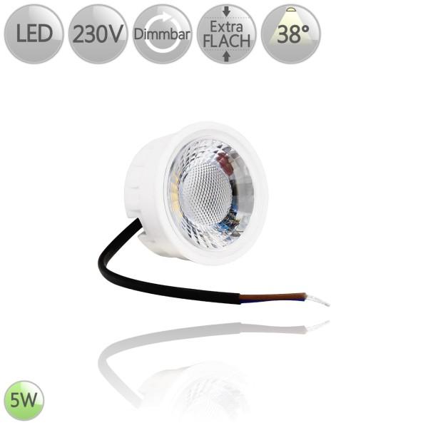 LED Leuchtmittel Keramik flach Modul GU10 MR16 Ersatz 5 Watt 38° warmweiß dimmbar HO