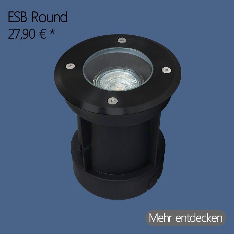 GU10 LED Bodeneinbaustrahler Rund in Schwarz