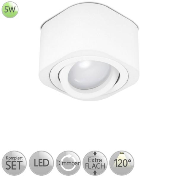 Aufbaustrahler Eckig abgerundet in Weiß inkl. 5W LED flach Modul dimmbar diffuses Licht 120° HO