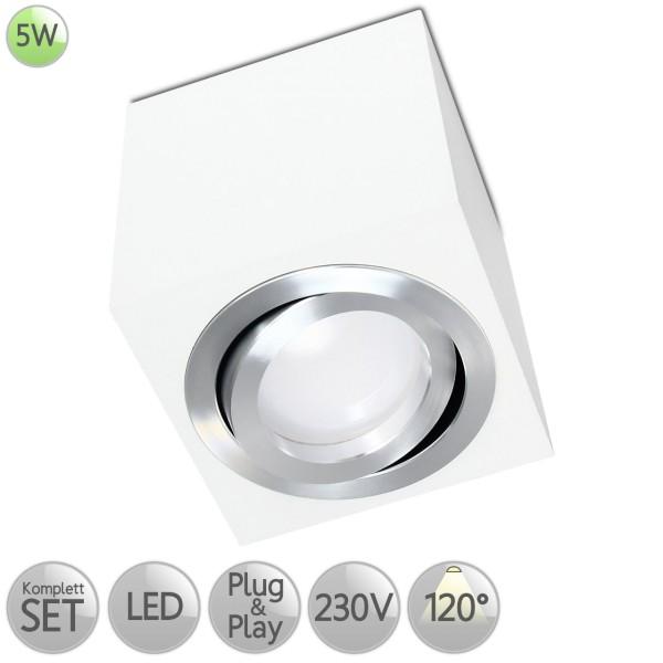 Aufbaustrahler Eckig in Weiß inkl. 5W LED GU10 diffuses Licht 120° HO