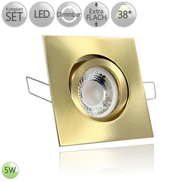 Druckguss Klick Einbaustrahler Eckig in Gold inkl. 5W LED flach Modul dimmbar 38° HO