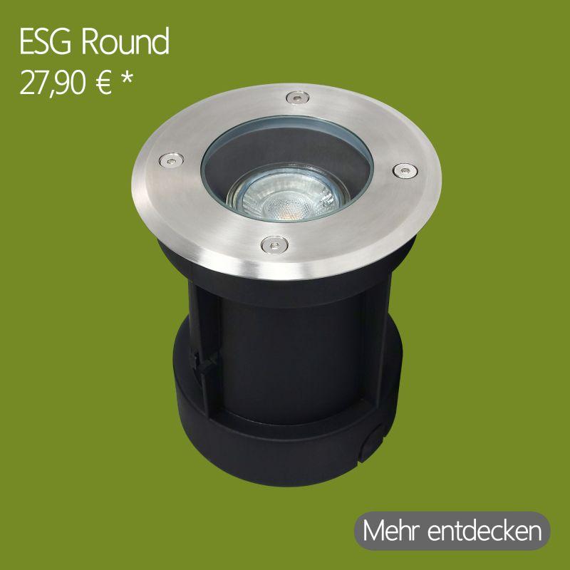 GU10 LED Bodeneinbaustrahler Rund in Edelstahl-gebürstet