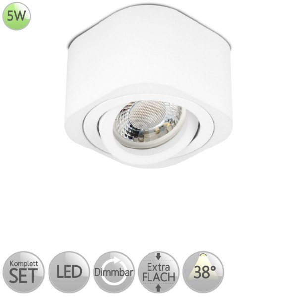 Aufbaustrahler Eckig abgerundet in Weiß inkl. 5W LED flach Modul dimmbar Linse 38° HO
