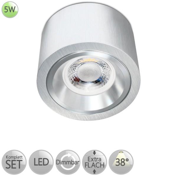 Aufbaustrahler Rund starr in Alu-gebürstet inkl. 5W LED flach Modul dimmbar Linse 38° HO