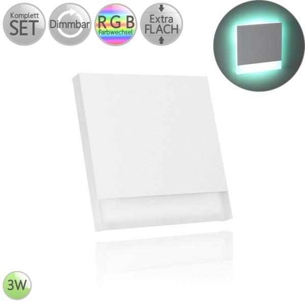 Treppenbeleuchtung Eckig in Weiß Dreiviertel inkl. 3W LED RGB Farbwechsel flach HO