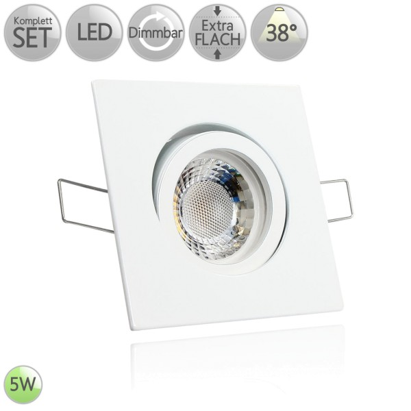 Druckguss Klick Einbaustrahler Eckig in Weiß inkl. 5W LED flach Modul dimmbar 38° HO