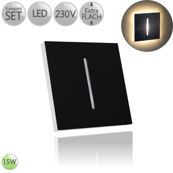 Treppenbeleuchtung Eckig in Schwarz mit Schlitz inkl. 1.5W LED flach HO