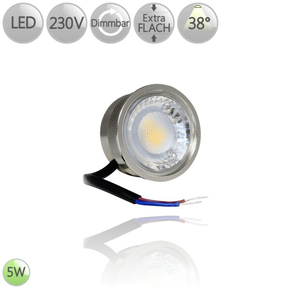 LED Leuchtmittel Alu flach Modul GU10 MR16 Ersatz 5 Watt 38° warmweiß dimmbar HO