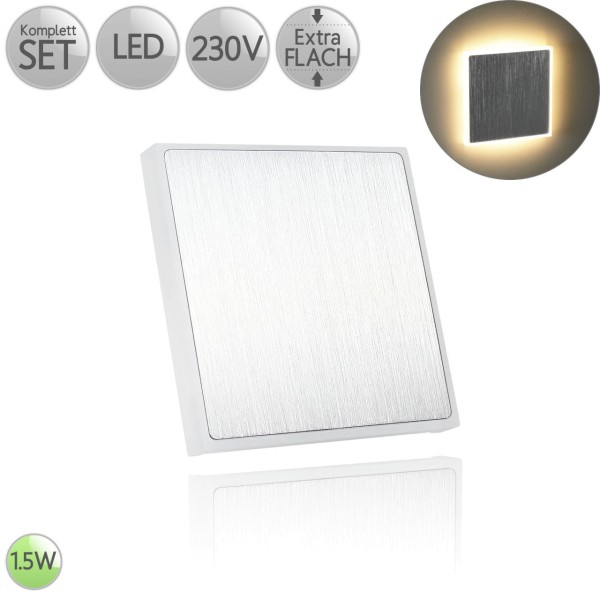 Treppenbeleuchtung Eckig Alu-gebürstet Randbeleuchtung inkl. 1.5W LED flach HO
