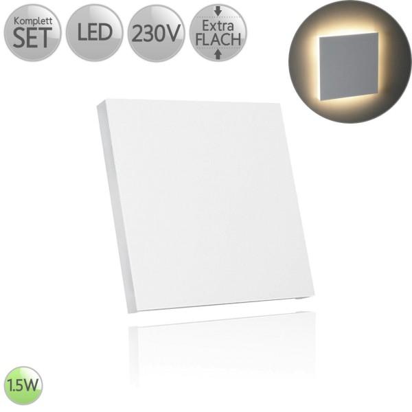 Treppenbeleuchtung Eckig in Weiß inkl. 1.5W LED flach HO