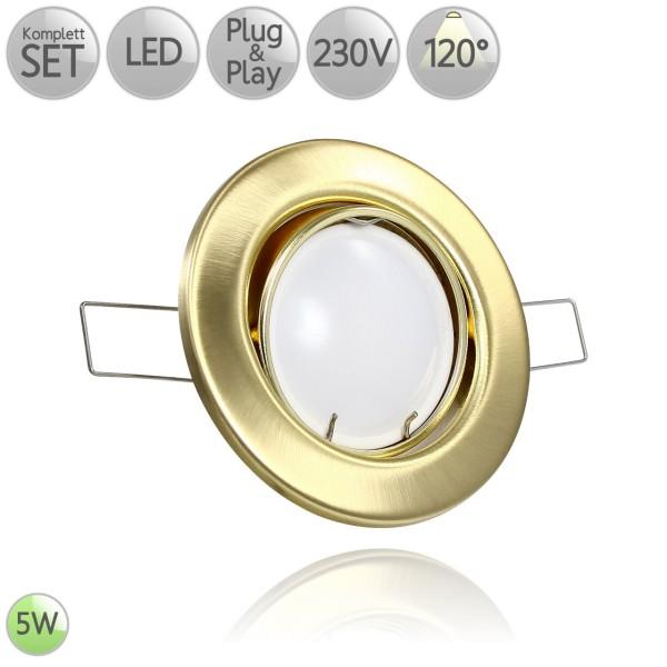Metall Einbaustrahler Rund in Gold inkl. 5W LED GU10 120° HO