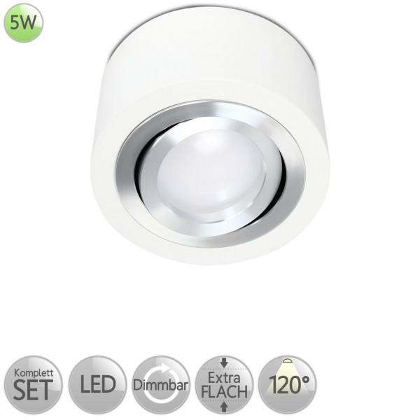 Aufbaustrahler Rund in Weiß inkl. 5W LED flach Modul dimmbar diffuses Licht 120° HO