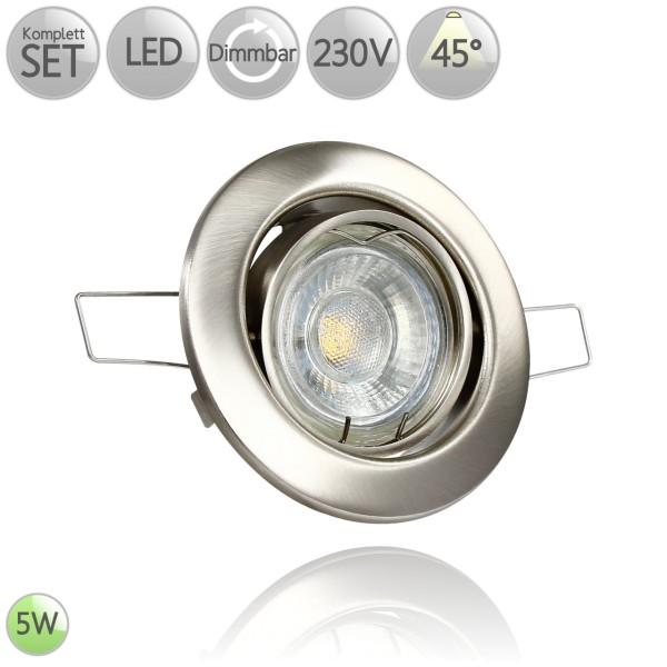 Metall Einbaustrahler Rund in Eisen-gebürstet inkl. 5W LED GU10 dimmbar 45° HO