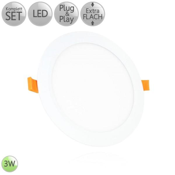 LED Einbau Panel Extra-flach Rund in Weiß 3W 230V Warmweiß 3000K Neutralweiß 4000K HO