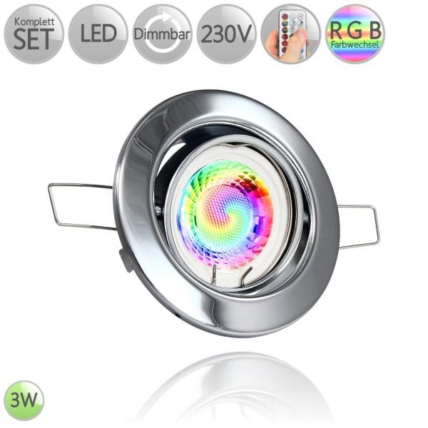 Metall Einbaustrahler Rund in Chrom inkl. 3W LED GU10 RGB Farbwechsel dimmbar HO