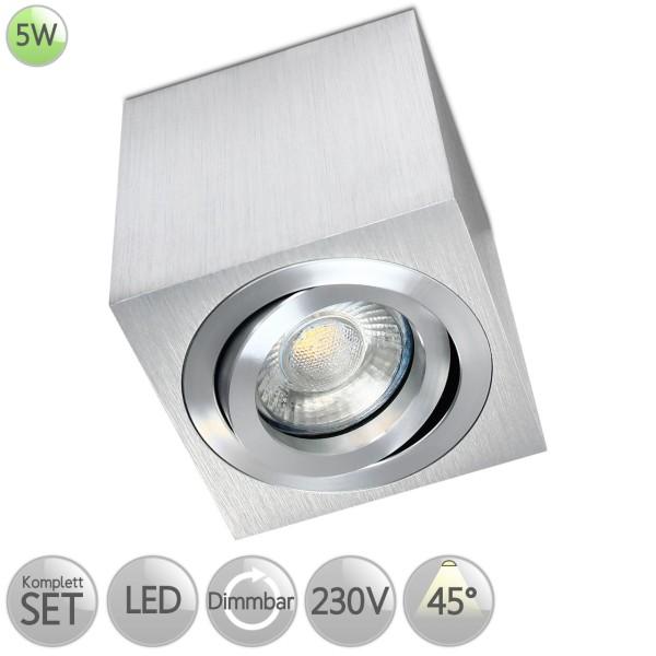 Aufbaustrahler Eckig in Alu-gebürstet inkl. 5W LED GU10 dimmbar Linse 45° HO