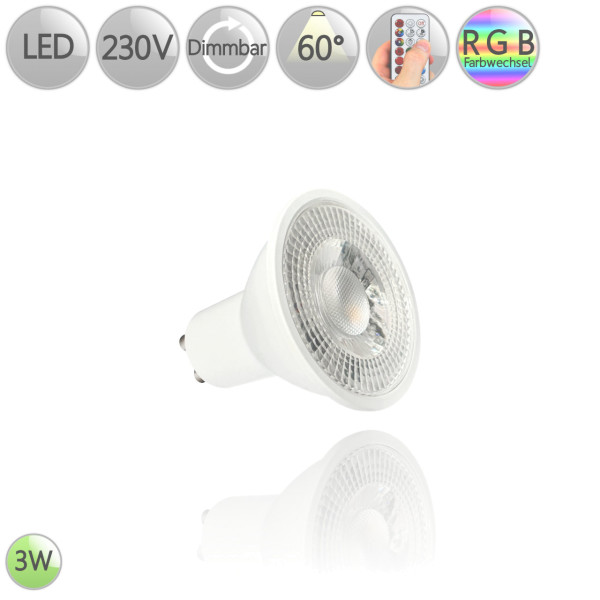 LED Leuchtmittel GU10 RGB 3 Watt 60° dimmbar Warmweiß Kaltweiß Rot Grün Blau HO