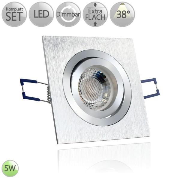 Alu Einbaustrahler Eckig in Bicolor-gebürstet inkl. 5W LED flach Modul dimmbar 38° HO