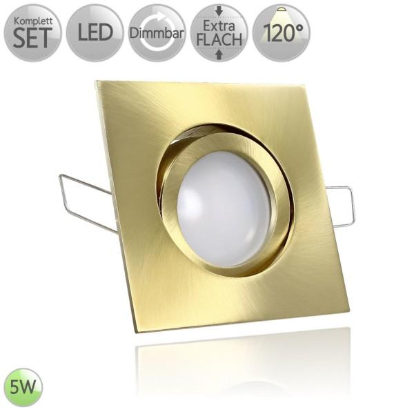 Druckguss Klick Einbaustrahler Eckig in Gold inkl. 5W LED flach Modul dimmbar 120° HO