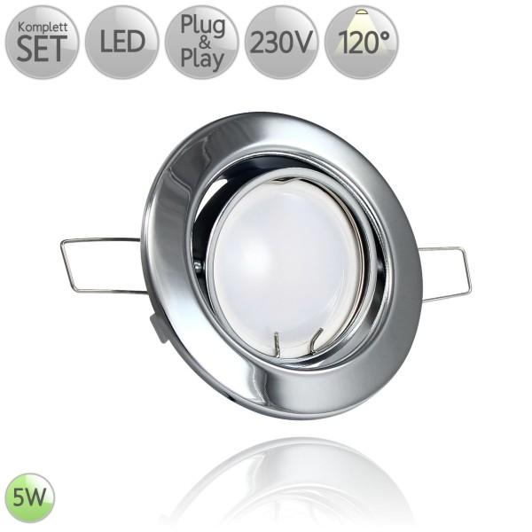 Metall Einbaustrahler Rund in Chrom inkl. 5W LED GU10 120° HO