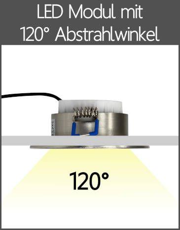 LED Einbaustrahler Flach-Modul mit Kappe 120° Abstrahlwinkel
