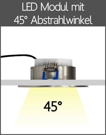 LED Einbaustrahler Flach-Modul mit Linse 45° Abstrahlwinkel