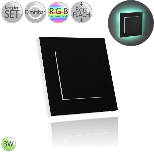 Treppenbeleuchtung Eckig in Schwarz Doppellagig inkl. 3W LED RGB Farbwechsel flach HO