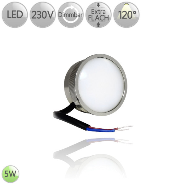 LED Leuchtmittel Alu flach Modul GU10 MR16 Ersatz 5 Watt 120° warmweiß dimmbar HO