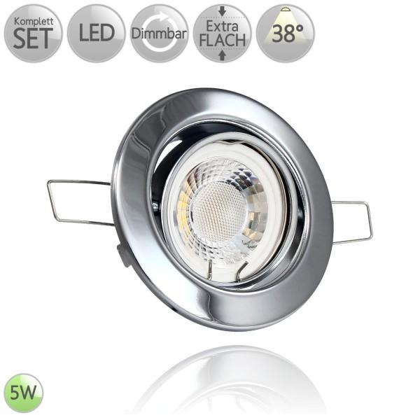 Metall Einbaustrahler Rund in Chrom inkl. 5W LED flach Modul dimmbar 38° HO