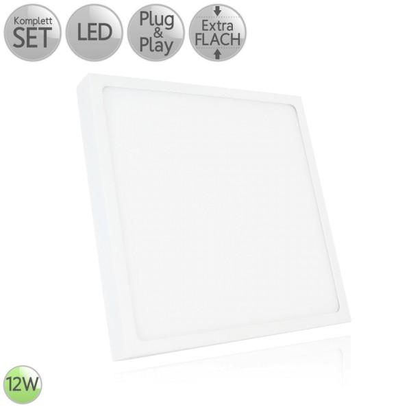 LED Aufbau Panel Extra-flach Eckig in Weiß 12W 230V Warmweiß 3000K Neutralweiß 4000K HO