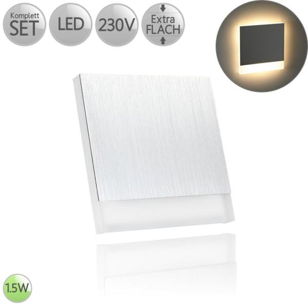 Treppenbeleuchtung Eckig in Alu-gebürstet Dreiviertel inkl. 1.5W LED flach HO