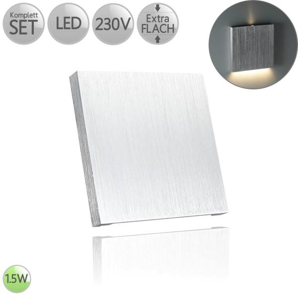 Treppenbeleuchtung Eckig in Alu-gebürstet Up&Down inkl. 1.5W LED flach HO