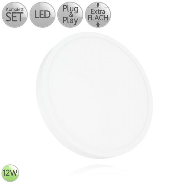 LED Aufbau Panel Extra-flach Rund in Weiß 12W 230V Warmweiß 3000K Neutralweiß 4000K HO
