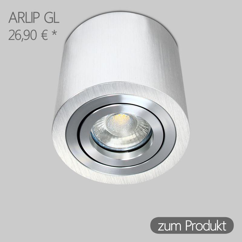 IP44 Aufbaustrahler Rund in Alu-gebürstet inkl. 5W LED GU10 dimmbar Linse